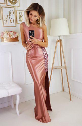 Satynowa sukienka maxi z cekinami różowa