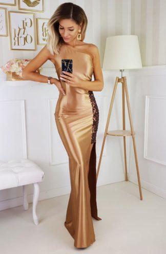 Satynowa sukienka maxi z cekinami złota