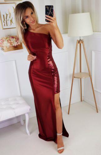 Satynowa sukienka maxi z cekinami bordowa