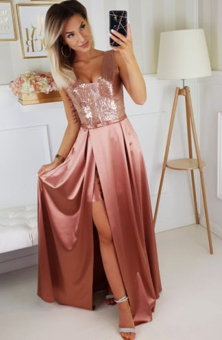 Satynowa sukienka maxi z błyszczącą górą różowa
