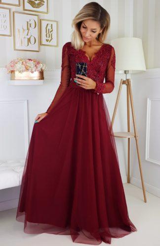 Tiulowa sukienka maxi z haftem i rękawami bordowa