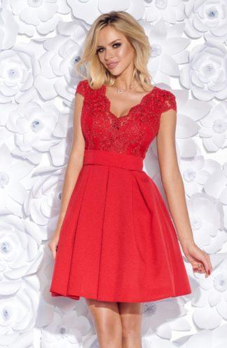Koktajlowa sukienka z koronkową górą i szarfą czerwona