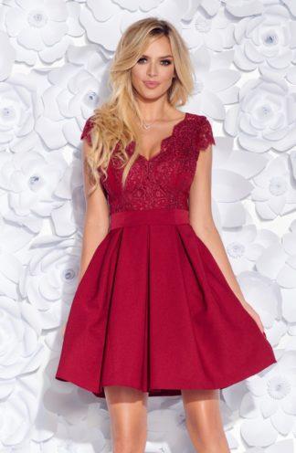 Koktajlowa sukienka z koronkową górą i szarfą bordowa