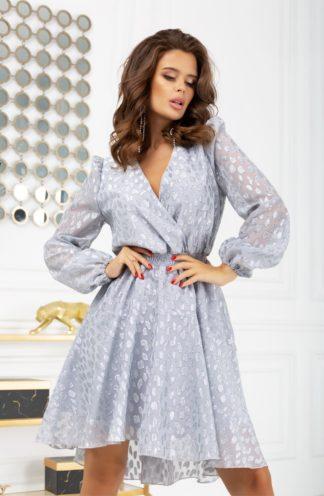 Wieczorowa sukienka z rękawami szara