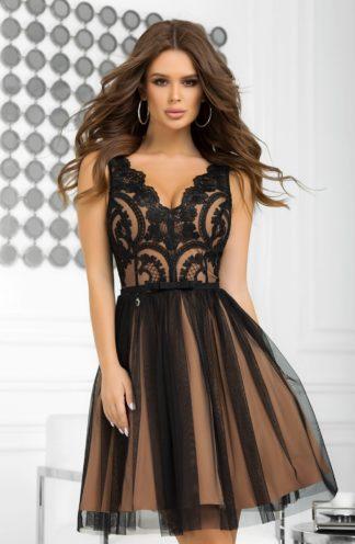 Koktajlowa sukienka z koronką i haftem czarna