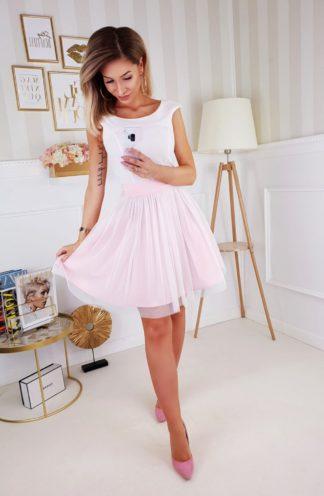 Koktajlowa sukienka z kokardą różowa