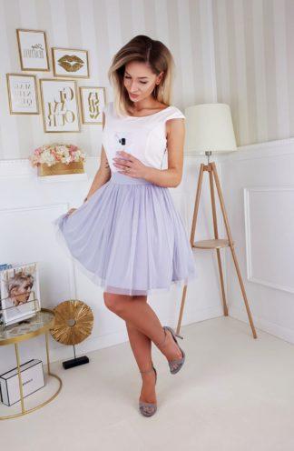 Koktajlowa sukienka z kokardą szara