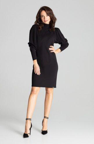 Elegancka sukienka z golfem czarna