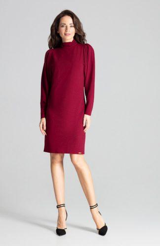 Elegancka sukienka z golfem bordowa