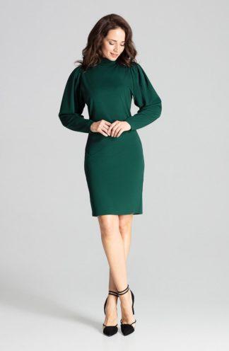 Elegancka sukienka z golfem zielona