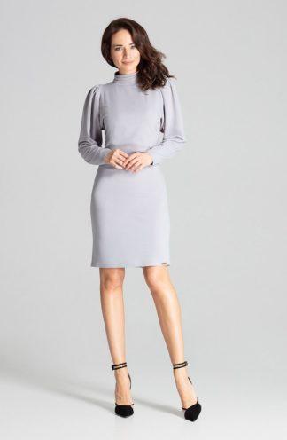 Elegancka sukienka z golfem szara