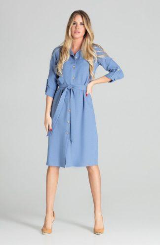 Koszulowa sukienka z wiązaniem niebieska