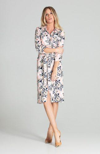 Koszulowa sukienka z wiązaniem we wzory