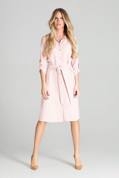 Koszulowa sukienka z wiązaniem różowa