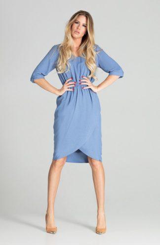 Biznesowa sukienka z zakładanym dołem niebieska