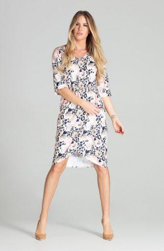 Biznesowa sukienka z zakładanym dołem we wzory