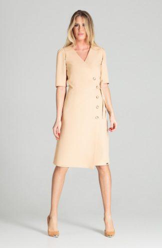 Elegancka sukienka z kopertowym dekoltem beżowa
