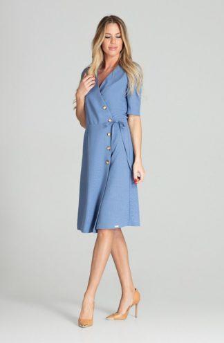 Elegancka sukienka z kopertowym dekoltem niebieska