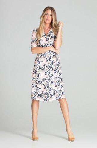 Elegancka sukienka z kopertowym dekoltem we wzory