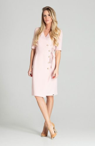 Elegancka sukienka z kopertowym dekoltem różowa