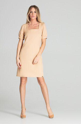 Elegancka sukienka z kwadratowym dekoltem beżowa