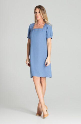 Elegancka sukienka z kwadratowym dekoltem niebieska