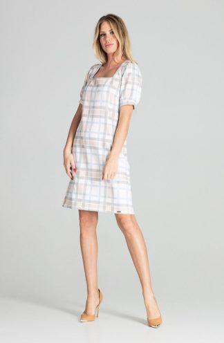 Elegancka sukienka z kwadratowym dekoltem w kratę