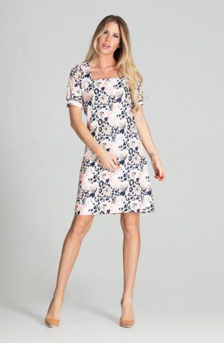 Elegancka sukienka z kwadratowym dekoltem we wzory