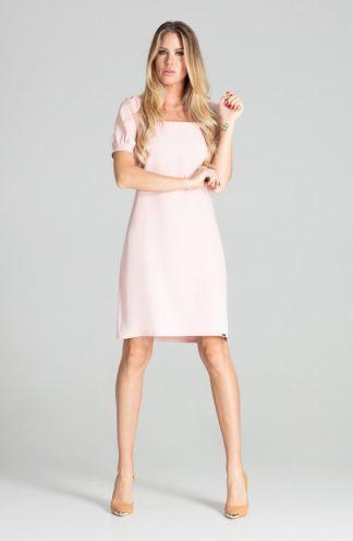 Elegancka sukienka z kwadratowym dekoltem różowa
