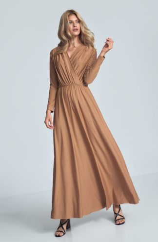 Sukienka maxi z długim rękawem beżowa