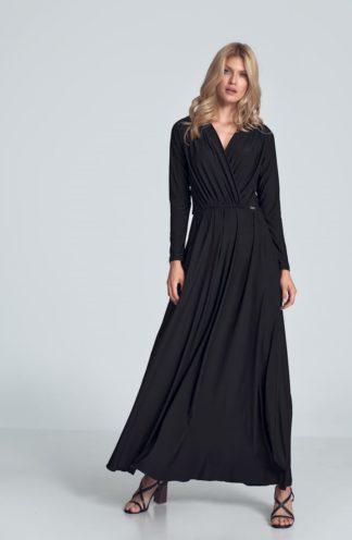 Sukienka maxi z długim rękawem czarna