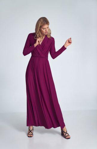 Sukienka maxi z długim rękawem fuksja