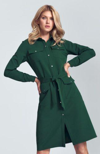 Koszulowa sukienka z wiązaniem zielona