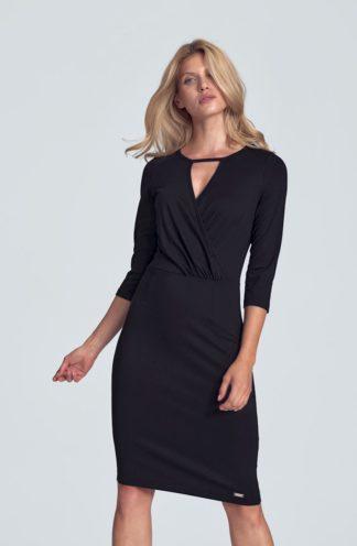 Ołówkowa sukienka z kopertowym dekoltem czarna