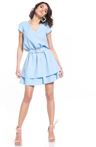Sukienka z dekoltem i podwójną spódnicą błękitna
