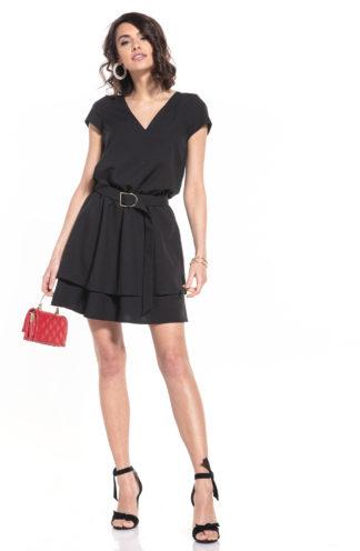 Sukienka z dekoltem i podwójną spódnicą czarna