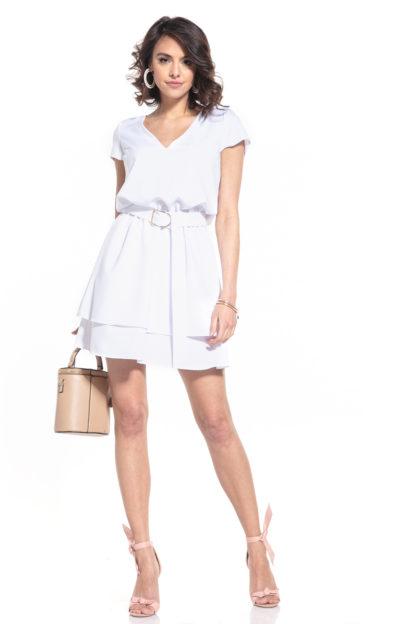 Sukienka z dekoltem i podwójną spódnicą biała