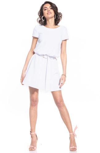 Sukienka z dekoltem na plecach biała