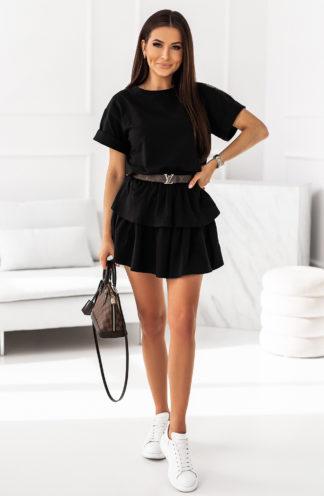 Komplet z podwójną spódnicą czarny