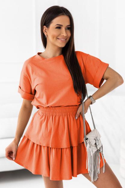Komplet z podwójną spódnicą pomarańczowy