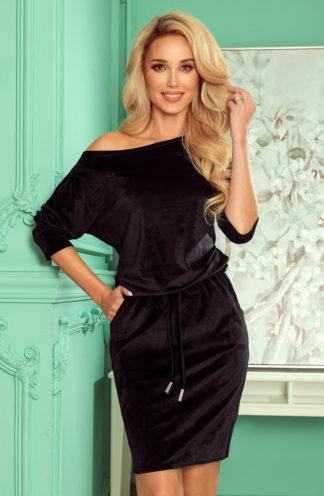 Sportowa sukienka welurowa z wiązaniem czarna