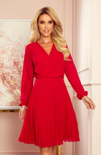 Plisowana sukienka z długim rękawem czerwona