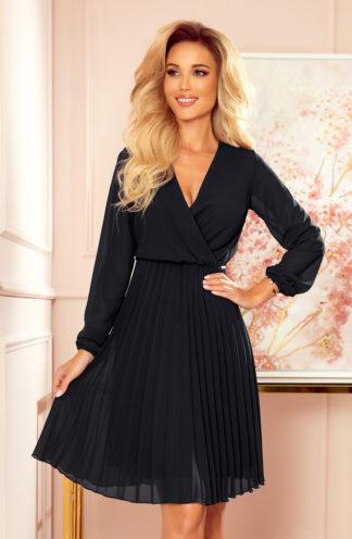Plisowana sukienka z długim rękawem czarna