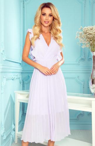 Elegancka plisowana sukienka midi lawendowa