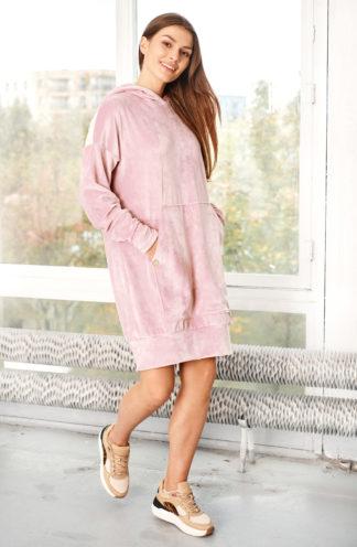 Welurowa bluza z kapturem i rękawem różowa
