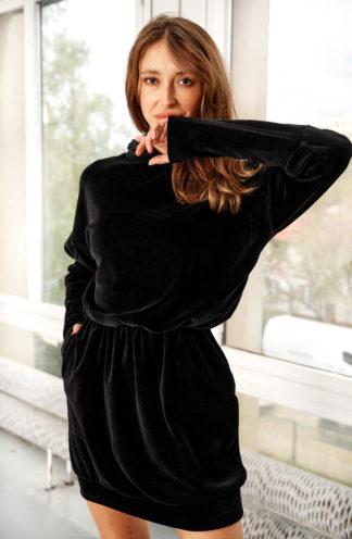 Welurowa bluza z gumką w pasie czarna