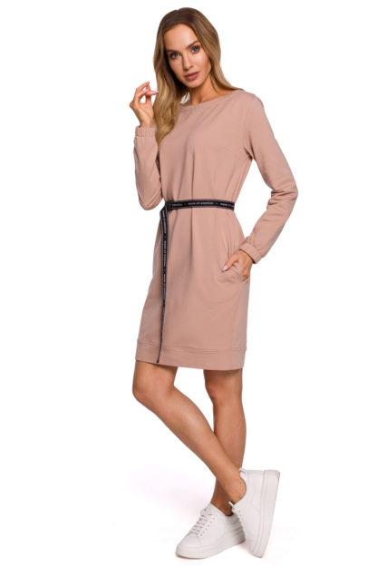 Sportowa sukienka z paskiem beżowa