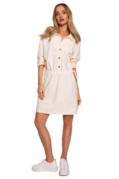 Sukienka z koszulową górą ecru
