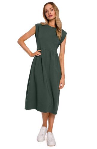 Sukienka midi z szerokimi ramionami khaki