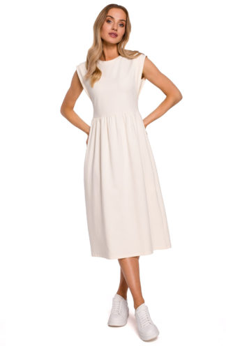 Sukienka midi z szerokimi ramionami ecru